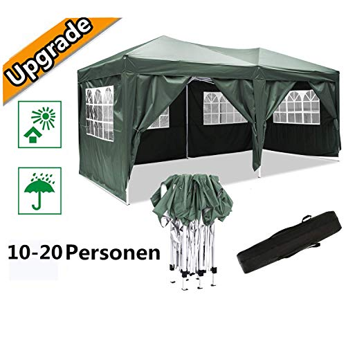 Hiriyt 3x6m Garden Gazebo Marquee Tent with Side Panels, Fully Waterproof, Powder Coated Steel Frame for Outdoor Wedding Garden Party (Green)