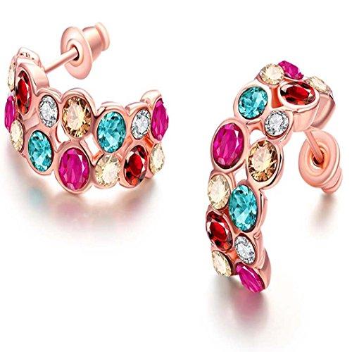 JewelleryClub Pendientes de Cristal Redondo Mitad Elementos Coloridos de Swarovski del Oro de Rose Plateado para la Mujer