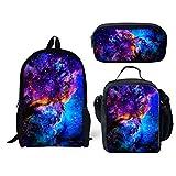 Set de 3 piezas Cosmic Planet Galaxy mochila+lonchera aislada+bolsa de lápices para niños de regreso a la escuela