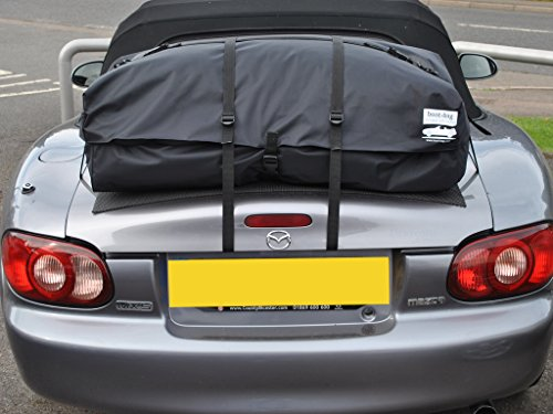 Mazda Miata Trunk Rack Luggage Rack : Unique waterproof luggage bag straps to trunk lid : Fits all models : Boot-bag Vacation