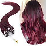 Micro Link Human Hair Extensions Micro Ring Loop Remy Hair Piece Beads Cold Fusion Stick Tipped Hair Fish Line Natural Straight Real Hair Extension For Women 20 inch 50g 100 Strands #99J Wine Red