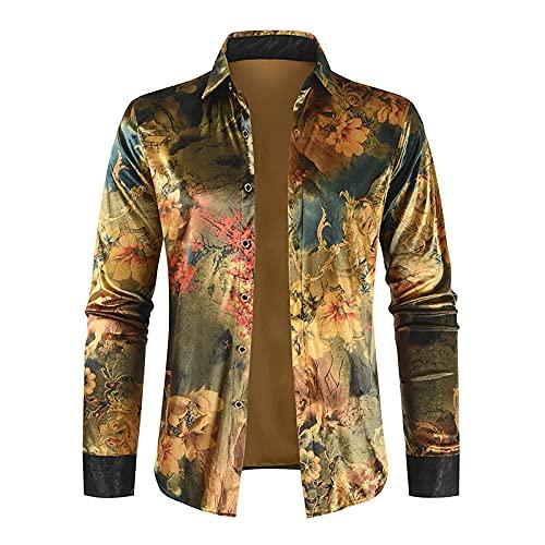 Camisa de Manga Larga con Solapa Retro para Hombre, Moda, cálida, Informal, con Estampado, Personalidad, Ropa de Calle, Tendencia, Camisa básica, Chaqueta M