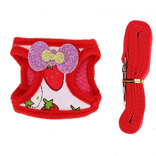 HEEPDD Pet Harness Set, Rabbit Outdoor Walking Komfortable Brustgurt Traktionsweste Kleine Pet Strawberry Pattern Training Leine Harness Set(M)