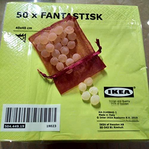 Ikea, Weiche Papierservietten, drei-lagig, max. 40 x 40 cm, in jeder Packung Mit einem Honig-Bonbon