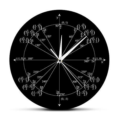 Relógio de parede com círculo de unidade The Geeky Days para professores de matemática Trigonometria Pré-cálculo Decoração de sala de aula Geometria Radiana com Ângulos rotulados