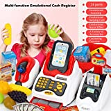 LVPY Kaufladenzubehör, 24-TLG Registrierkasse Spielkasse mit Scanner inkl. Münzen für Rollenspiel Kaufladenzubehör für ab 3 Jahren