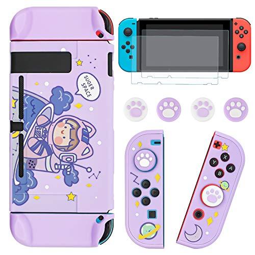DLseego Funda protectora acoplable compatible con Nintendo Switch, diseño bonito con 2 protectores de pantalla de cristal y 4 empuñaduras para el pulgar, color morado