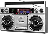Victrola 1980s Retro Bluetooth Boombox with Cassette Player and AM/FM Radio, Wired and Wireless Streaming, Classic 80s Style with Modern Technology, Silver