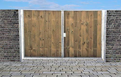 Elektrisches Einfahrtstor Ss Tor Holztor Gartentor Hoftor Verzinkt mit Pfosten & Holzfüllung 2-flügelig 300cm x 180cm