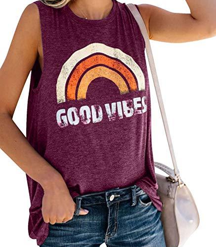 Voqeen Chaleco Sin Mangas para Mujer Cuello Redondo Buenas Vibes Arcoiris Impreso Casual Adolescentes Camiseta para Niñas Camiseta de Playa Blusa De Verano Camisetas De Tirantes