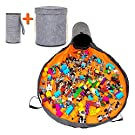 """Tibsy Toy Storage Basket and Play Mat - Canvas Storage Bins & Doll Organizer Swoop Bag with Strong Handles, Grey Bucket Container with Fastener for Cover Seal, 60"""" Long & Free Mini Bin Storage Mat."""