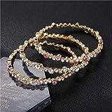ALUN Armband Frauen Breite 3 Teile/Sätze Goldlegierung Armbänder Set Bunte Strass Armreif Sets Hochzeit Zubehör