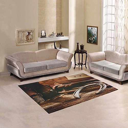 Love Nature Sweet Home Modern Collection Custom American West rodeo old horseshoe Area Rug 7'x5' Indoor Soft Carpet