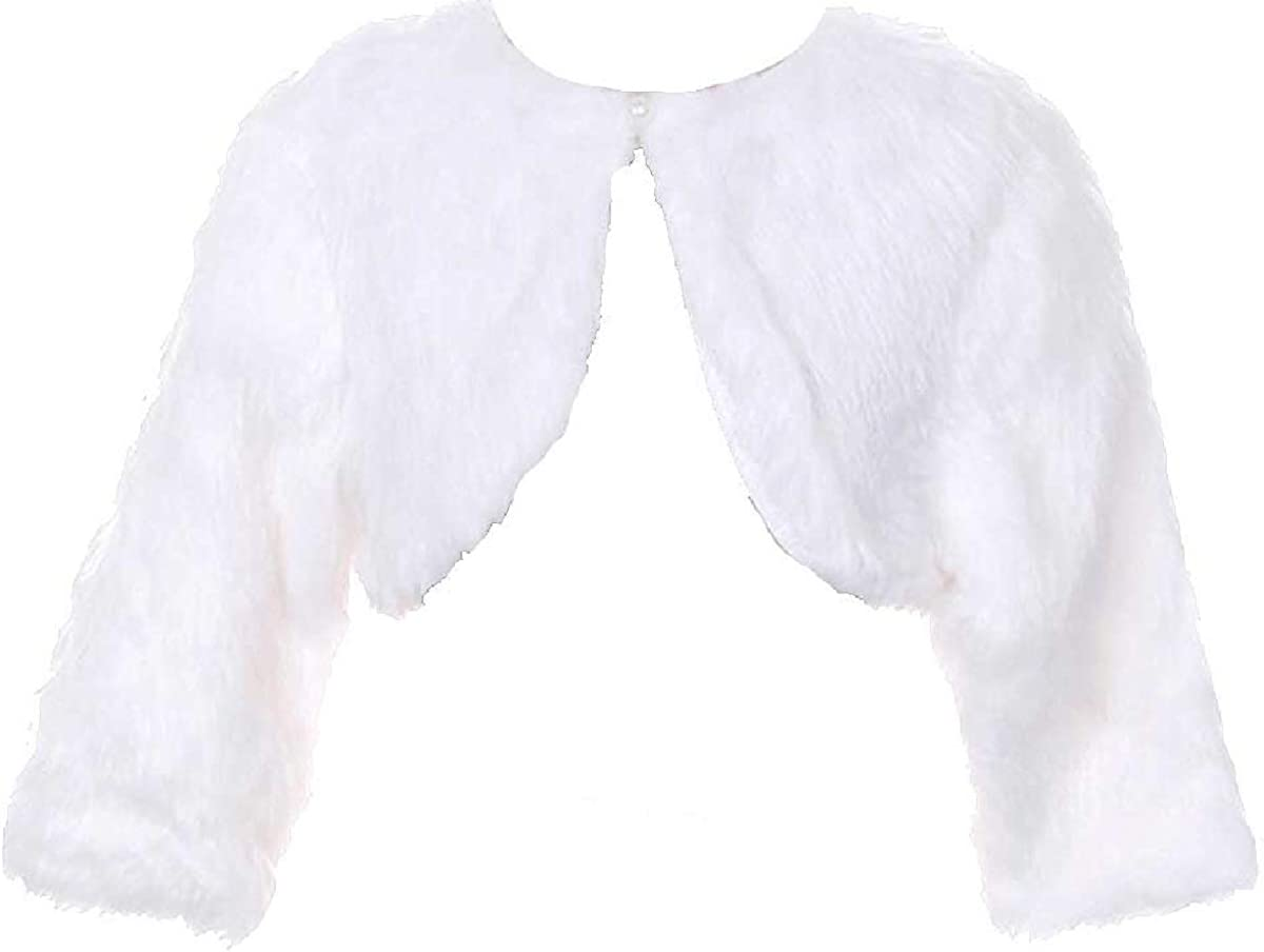 Dreamer P Little Girls White Faux Fur Pearl Button Special Occasion Shrug