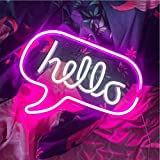 Hello LED Light Neon Word Sign Neon Word Letters Light Kids' Room Décor Wall Decor for Christmas Baby Room Birthday Party,Living Room,Wedding Party Holiday Decor 16.9'x12.6'(Pink White Hello)