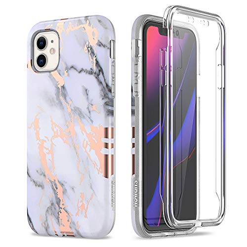 SURITCH for iPhone 11 Case with Built-in Screen Protector Front and Back 360 Degree Full Body Protection Cover Bumper Shockproof Non Slip Case for iPhone 11(6.1 Inch) Marble Black White Gold
