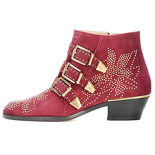 3b404362247 GEEDIAR Leather Ankle Boots Women Rivet Booties Studded Shoes Metal Buckle  Shoes Low Heels