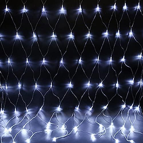 ZJQ-Festival Exterior Luces de Red de Pesca, Impermeable 8 Modos Luces de Ambiente de Fiesta, para Patio, Jardín, Bodas, Navidad,Blanco,3M*2M