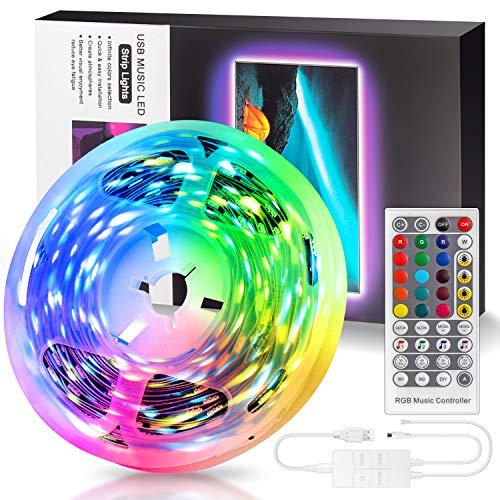 Swonuk LED Strip 5M, RGB Streifen Lichterkette mit Fernbedienung Lichtband Selbstklebend Sync zur Musik Farbwechsel 5050 LED Lichtleiste für TV, PC, Schlafzimmer, Haus, Party Deko