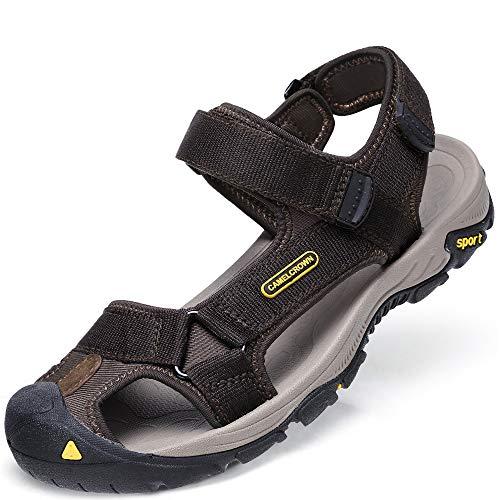 CAMEL CROWN Sandalias Hombre Verano, Chanclas Hombre Playa, Calzado Antideslizante Deportivo, Chanclas Trekking Zapatos Cuero,Sandalias con Punta Abierta