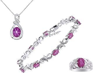 *RYLOS Designer Love Knot 3 Piece Matching Jewelry Set With Colorstones/Gem Stones & Diamonds; Bracelet, Ring & Matching N...