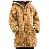 Berimaterry Chaqueta punto mujer de gran tamaño jersey punto mujer con capucha invierno elegante cálida con bolsillos chaqueta larga con botones parka para mujer Suéter manga larga de punto