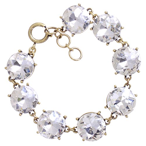 Rosemarie Collections Women's Rhinestone Link Fashion Bracelet (Gold Tone/Clear Crystal)