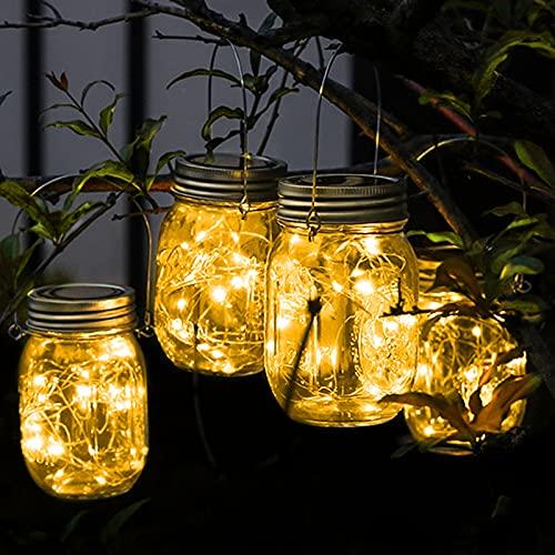 Solarlampen für Außen, Amteker 4 Stück Solar Mason Jar Licht, Solar Einmachglas Laterne, 30 LEDs wasserdichte Solarleuchte Garten für Außen Hängend, Solarlampe für Balkon, Terrasse, Rasen (Warmweiß)