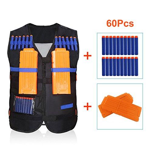 Yosoo Taktische Jacket Kid Elite Schwarz + 60 Darts Lädt Soft Ballet Kugeln + 2Pcs Dart Clips Ladegeräte für Nerf Gun N-Streik Elite Series Toy