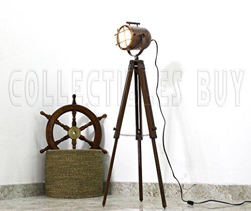 Nautical Maritime Vintage Designer Searchlight Copper Antique Home Floor Lamp Royal Ship Spotlight