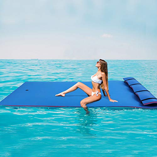 Outroad Floating Mat Floating Water Pad Recreation and Relaxing for Lakes, Oceans & Pools, Giant Lily Pad for Holiday Relaxing & Recreation, 9'x6' Blue