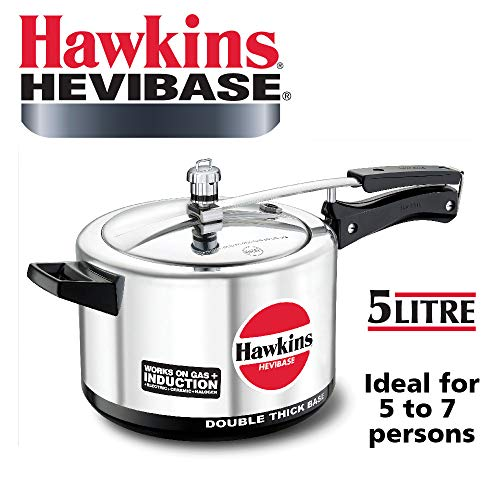 Hawkins Hevibase Aluminum Induction Model Pressure Cooker, 5 Litres