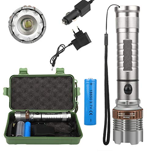 BINWO Led Taschenlampe, Super Helle 3000 Lumen CREE Taschenlampen, Wiederaufladbare Taktische Taschenlampe mit Zoom für Outdoor, Camping, Wandern und Notfälle (mit 4000mah 18650 Batterie)