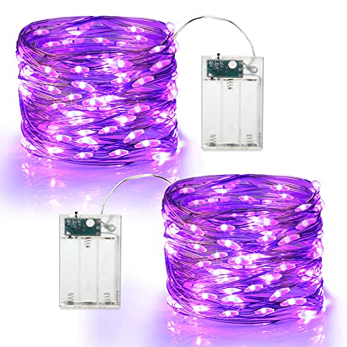 Brizled Purple Halloween Lights, 19.47ft 60 LED Purple Fairy Lights, Battery Powered Twinkle/Steady On Halloween String Lights Indoor Silver Wire Mini Starry Lights for Party, Xmas, Room Decor, 2 Pack