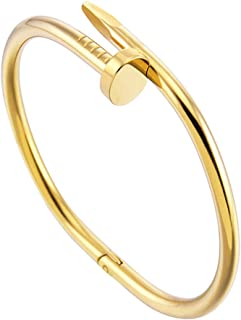 Fashion Titanium Steel Stainless Steel Nails Bracelet Silver Gold Bracelets Bangles Punk for Women Men Jewelry Personality Style,Gold,1