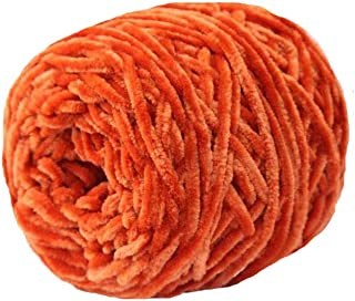 Clisil Orange Fluffy Velvet Chenille Yarn 8 oz/250g DIY Crochet Knitting Chenille Yarn Toys Sweaters Hats Socks Velvet Yarn Chenille Yarn Moms Gift