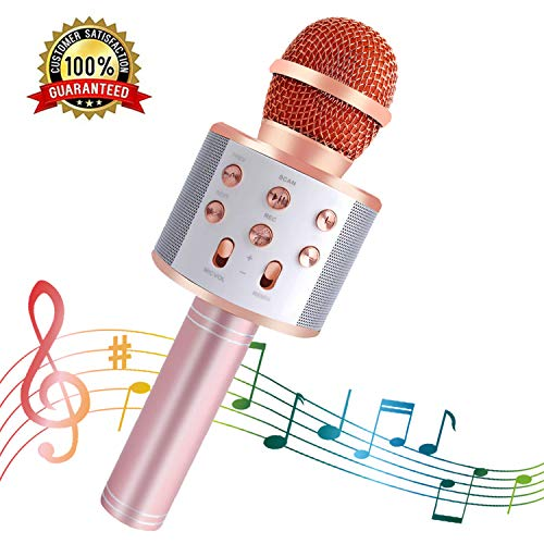 SeeKool Microfono Karaoke Bluetooth con LED Flash Funzione Eco, Wireless Portatile Altoparlante, KTV Player Home Party Regali di compleanno, Compatibile con Android/iOS/ipad/PC (pink)