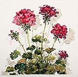 RTO CU048 Rote Blumen Kreuzstichkissen, Baumwolle, Mehrfarbig, 40x40 cm