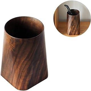 Pen Holder - Solid Wood Pen Holder Black Walnut Whole Wood Stationery Pen Insert, Desktop Pen Holder Storage Ornaments