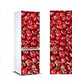 Pegatinas 3D Vinilo para Frigorifico Cerezas | Varias Medidas 185x70cm | Adhesivo Resistente y de Fácil Aplicación | Pegatina Adhesiva Decorativa de Diseño Elegante