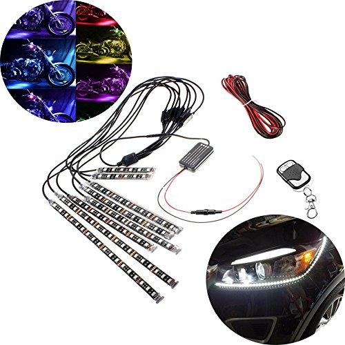 Haichen 8 pcs Moto Neon LED Bande lumineuse Dessous lamps Glow Atmosphère Intérieur de voiture lumières lumières RGB télécommande sans fil