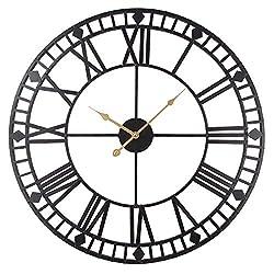 Timelike Roman Round Clock, Handmade Large Wall Clock Wrought Metal Wall Art Hanging Decorative Wall Sculpture Decor (60CM)