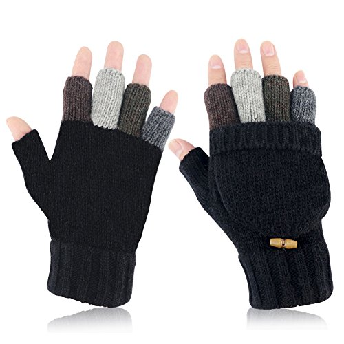 Akayboya Winter Warm Knitted Fingerless Gloves Convertible Wool Gloves with Mittens Cover