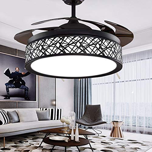 42' Black Bird-Cage Ceiling Fan Chandelier Retractable blade Fan Light with Remote Control LED Fandelier for Bedroom Dinning Room Living Room,3 Color Changed 3 Fan Speed Quiet Motor