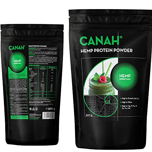 Natural Hemp Protein Powder by Canah 500 Grams – High in Protein Omega 3 Amino Acids Minerals Magnesium Phosphorus Iron and Zinc - Vegan Protein Superfood Cold Processed