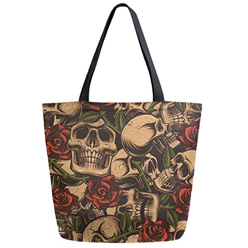 ZzWwR Retro Skulls Rose Pattern Extra Large Canvas Shoulder Tote Top Handle Bag for Gym Beach Travel Shopping