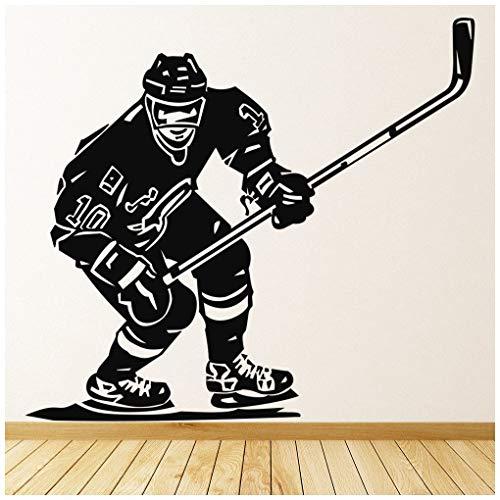 azutura Eishockey Wandtattoo Sportler Wand Sticker Kinder Schlafzimmer Haus Dekor verfügbar in 5 Größen und 25 Farben Klein Schwarz