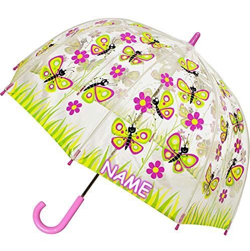 alles-meine.de GmbH Regenschirm Schmetterling / Blumen incl. Name - Kinderschirm transparent - Ø 70 cm - Kinder Stockschirm - für Mädchen Schirm Kinderregenschirm / Glockenschirm..