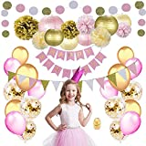 Birthday Party Decorations for Girls & Women by Nextin, 48pc Pink Gold Party Decorations kit Includes Pom Poms, Lanterns, Happy Birthday Banner, Glitter Garlands, Balloons, Confetti Balloons