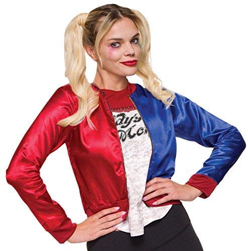 Espania Trading EST Frauen Harley Sucide Squad Halloween Cosplay Party Quinn Bomberjacke Gr. 44, rot, blau